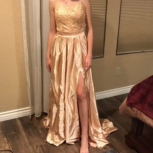 Pink Gold Gown Slit In Front